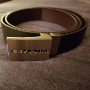 Mens Kenneth Cole Black Belt with Silver Buckle